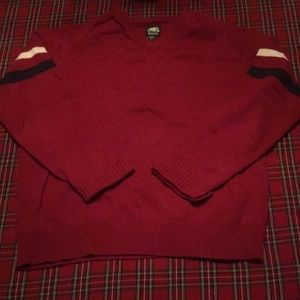 Roots red cotton/lambswool sweater V neck